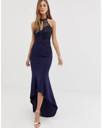 Lipsy - High Neck Maxi Dress With Lace Placement In Navy - Lyst