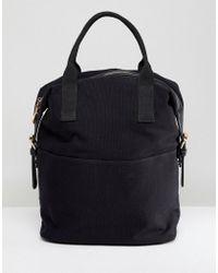 ASOS - Zip Over Canvas Backpack With Double Handle - Lyst