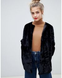 B.Young - Faux Fur Throw On Coat - Lyst