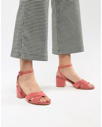 Mango - Suedette Cross Front Block Heel Sandal In Pink - Lyst