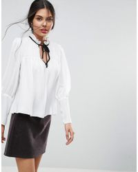 ASOS | Smock Blouse With Contrast Tie | Lyst
