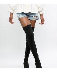 ASOS - Kelby Flat Elastic Thigh High Boots - Lyst