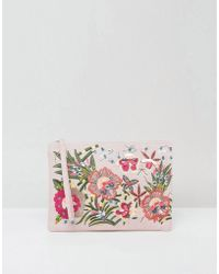 New Look - Floral Embellished Zip Top Clutch Bag - Lyst