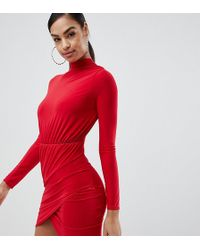 Missguided - Exclusive Twist Front Plisse Mini Dress In Red - Lyst