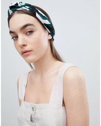 ASOS - Design Oversized Knot Turban Headband In Geo Print - Lyst