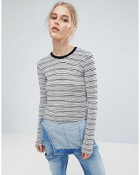 Pepe Jeans - Pat Long Sleeved Striped Top - Lyst
