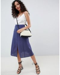 ASOS - Full Midi Skirt With Button Front - Lyst