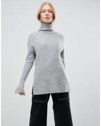 Shae - Chunky Rib High Neck Alpaca And Merino Wool Blend Sweater - Lyst