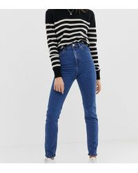 ASOS - Asos Design Tall Recycled Farleigh High Waisted Slim Mom Jeans In Mid Wash Blue - Lyst