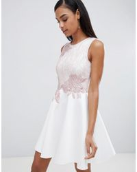 Lipsy - Skater Dress With Lace Detail - Lyst
