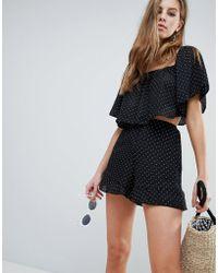 Oh My Love - Polka Dot Peplum Printed Shorts - Lyst