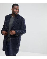 ASOS - Plus Checked Wool Mix Overcoat In Navy - Lyst