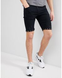 Liquor N Poker - Black Denim Shorts With Studs And Rips - Lyst
