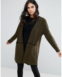 Soaked In Luxury - Contrast Trim Detail Cardigan - Lyst