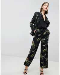Warehouse - Barbican Collection Tropical Printed Wide Leg Trousers - Lyst