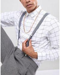 ASOS - Wedding Suspenders In Navy And White Stripe - Lyst
