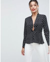 ASOS - Design Waisted Plunge Top In Spot - Lyst