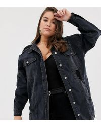 Missguided - Oversized Denim Jacket With Distressing In Black - Lyst