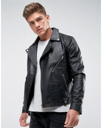 Barneys Originals - Real Leather Zipped Biker Jacket - Lyst