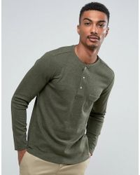 Mango - Man Long Sleeve Top With Buttons In Green - Lyst