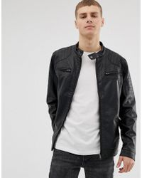 French Connection - Two Pocket Faux Leather Biker Jacket - Lyst