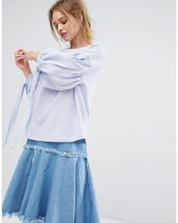 Pull&Bear - Balloon Sleeve Sweat With Tie Arm Detail - Lyst
