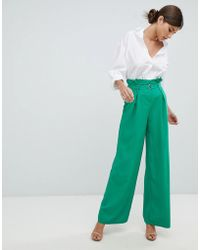 Missguided - Wide Leg Paperbag Trousers - Lyst
