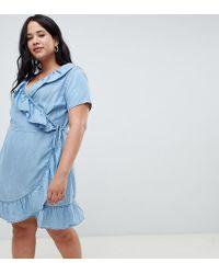 ASOS - Asos Design Curve Denim Wrap Dress With Frill Detail In Midwash Blue - Lyst
