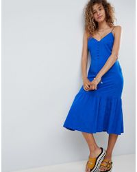 ASOS - Pep Hem Midi Slip Dress In Jacquard - Lyst