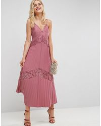 ASOS - Pleated Maxi Dress With Lace Inserts - Lyst
