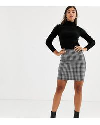 New Look Check Bodycon Skirt In Black