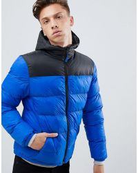 Tokyo Laundry Panelled Puffer Jacket With Hood - Blue