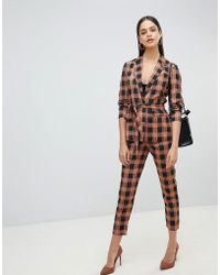 Fashion Union - Check Cigarette Trousers Co-ord - Lyst
