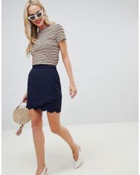 Oasis - A Line Mini Skirt With Scallop Detail In Navy - Lyst
