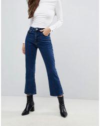 ASOS - Design Egerton Rigid Cropped Flare Jeans In Dark Stonewash - Lyst