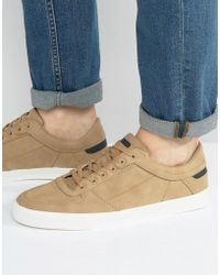Pull&Bear | Perforated Trainers In Tan With White Sole | Lyst
