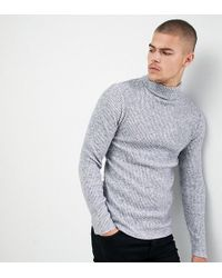 SIKSILK - Knitted Roll Neck Sweater In Gray Exclusive To Asos - Lyst