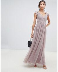 Little Mistress - Sheer Crochet Back And Cap Sleeve Empire Waist Mesh Maxi Dress - Lyst
