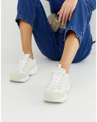 Skechers - D'lite Chunky Trainers In White - Lyst