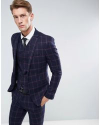 ASOS - Asos Super Skinny Suit Jacket In Navy And Pink Windowpane Check - Lyst