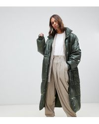 Weekday - Oversized Long Padded Jacket In Green - Lyst