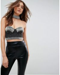 ASOS Asos Choker Bralette With Pearl Beading - Black