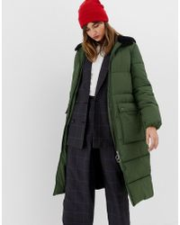 Stradivarius - Hooded Maxi Puffer Coat In Green - Lyst