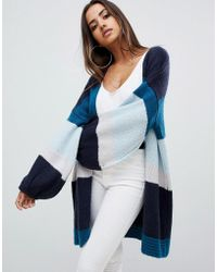 PrettyLittleThing - Colour Block Cardigan In Blue Stripe - Lyst