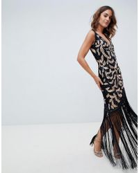 A Star Is Born - Embellished Wrap Front Midi Dress With Asymmetric Hem In Black And Rose Gold - Lyst
