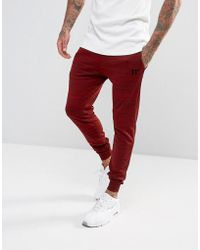 11 Degrees - Skinny Track Joggers In Burgundy - Lyst