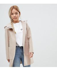 ASOS - Asos Design Petite Zip Through Coat With Hood - Lyst