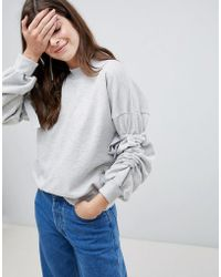 Gestuz - Galica Tie Sleeve High Neck Sweatshirt - Lyst