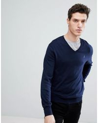 Polo Ralph Lauren - Pima Cotton Knit Jumper V-neck Polo Player In Navy - Lyst