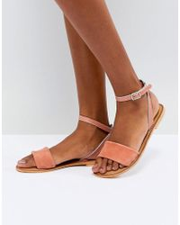 ab67b349f34 ASOS - Asos Florence Leather Flat Sandals - Lyst